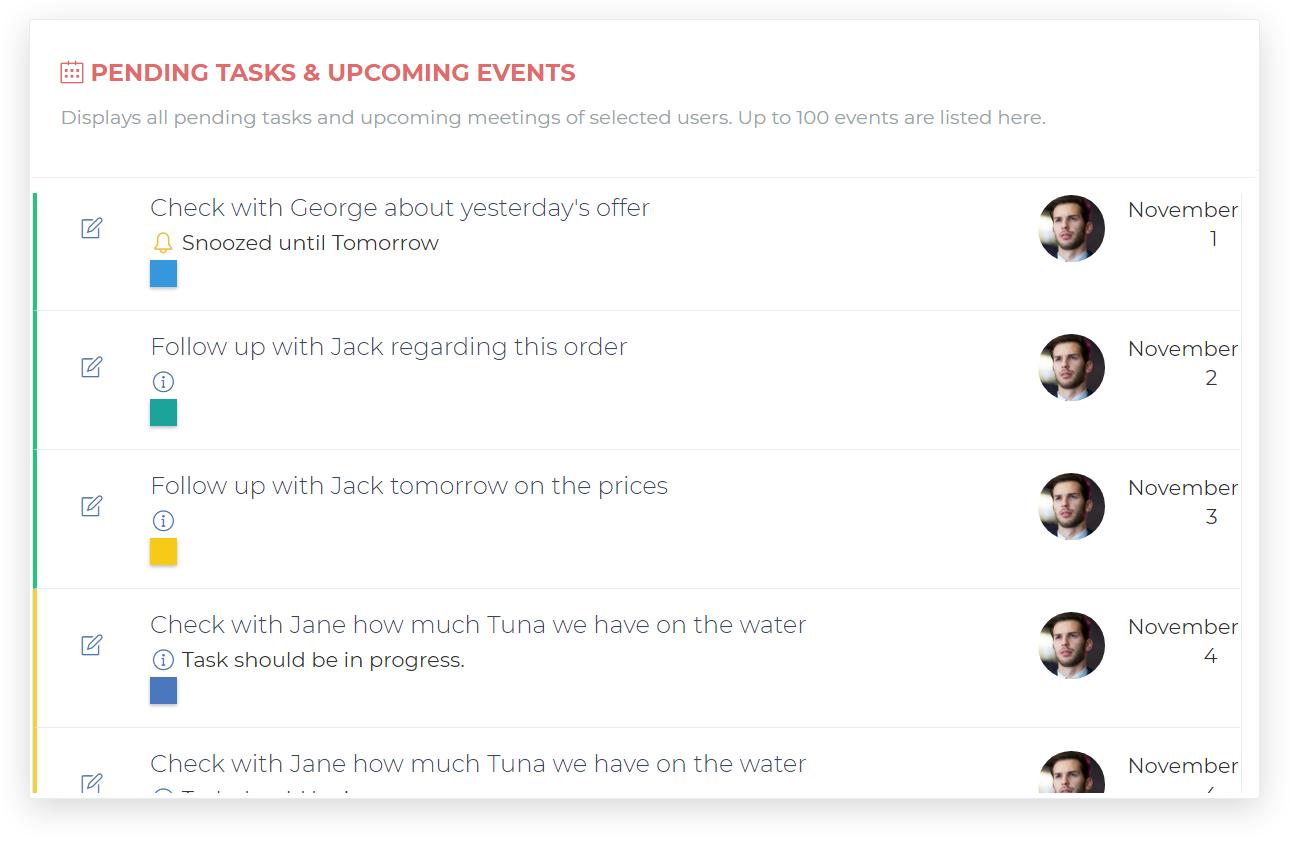 Pending Tasks & Events
